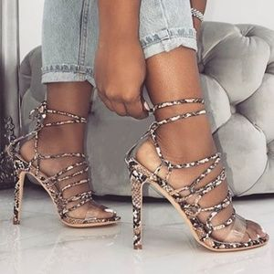 Shoes - Strappy Pumps super high heels Snake ladies pump